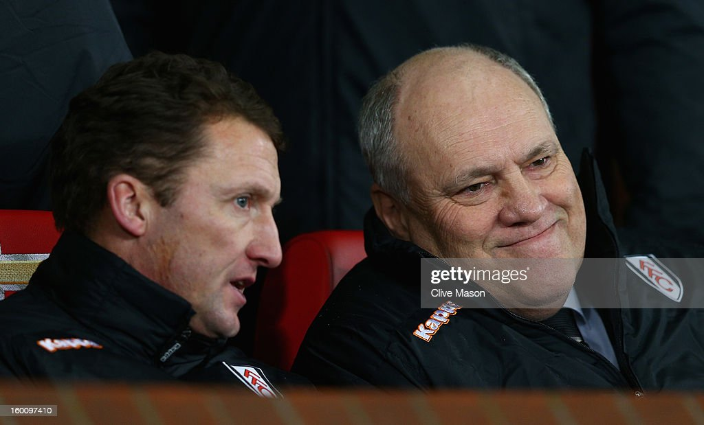 Fulham Manager <a gi-track='captionPersonalityLinkClicked' href=/galleries/search?phrase=Martin+Jol&family=editorial&specificpeople=215368 ng-click='$event.stopPropagation()'>Martin Jol</a> (r) chats to Assistant Manager <a gi-track='captionPersonalityLinkClicked' href=/galleries/search?phrase=Billy+McKinlay&family=editorial&specificpeople=2992598 ng-click='$event.stopPropagation()'>Billy McKinlay</a> prior to the FA Cup with Budweiser Fourth Round match between Manchester United and Fulham at Old Trafford on January 26, 2013 in Manchester, England.