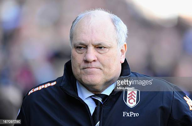Fulham manager Martin Jol looks on ahead of the Barclays Premier League match between Fulham and Arsenal at Craven Cottage on April 20 2013 in London...