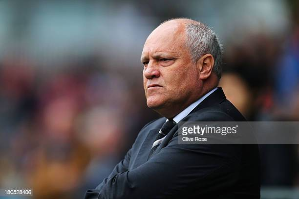 Fulham manager Martin Jol looks on during the Barclays Premier League match between Fulham and West Bromwich Albion at Craven Cottage on September 14...