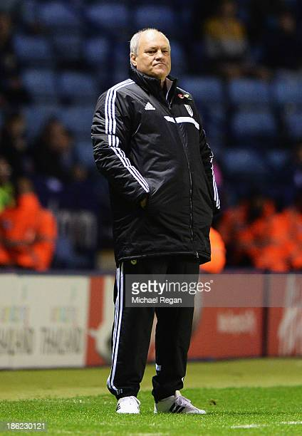Fulham manager Martin Jol looks on during the Capital One Cup fourth round match between Leicester City and Fulham at the King Power Stadium on...