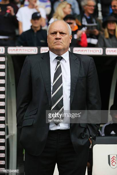 Fulham manager Martin Jol looks on prior to the Barclays Premier League match between Fulham and Cardiff City at Craven Cottage on September 28 2013...