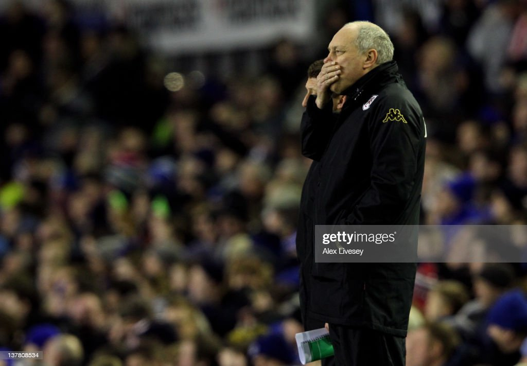 Fulham Manager <a gi-track='captionPersonalityLinkClicked' href=/galleries/search?phrase=Martin+Jol&family=editorial&specificpeople=215368 ng-click='$event.stopPropagation()'>Martin Jol</a> reacts during the FA Cup Fourth Round match between Everton and Fulham at Goodison Park on January 27, 2012 in Liverpool, England.