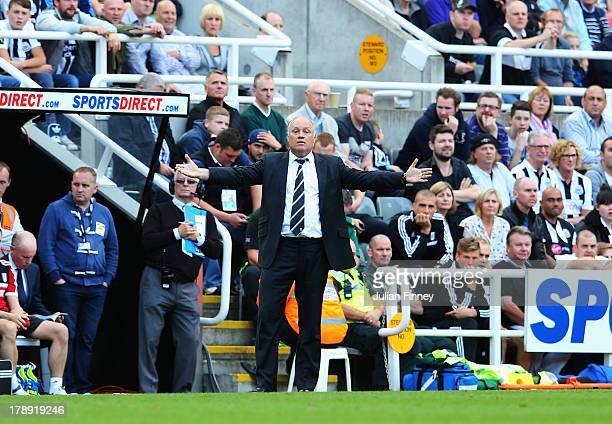 Fulham manager Martin Jol shouts on the touchline during the Barclays Premier League match between Newcastle United and Fulham at St James' Park on...
