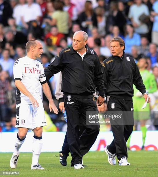 Fulham Manager Martin Jol talks to Danny Murphy of Fulham ahead of the second half during the UEFA Europa League 3rd Qualifying Round 2nd Leg match...