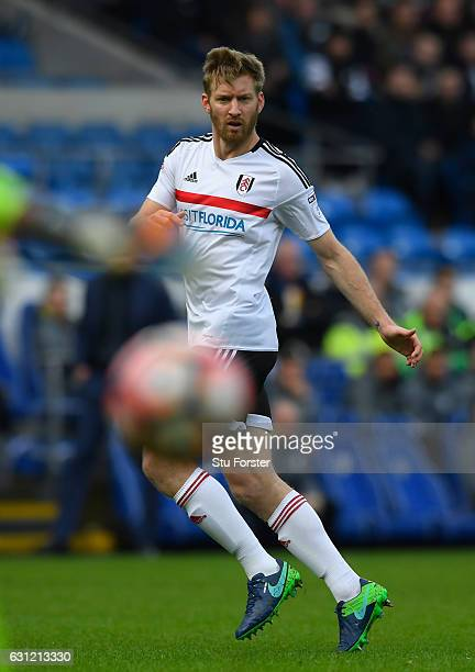 Fulham player Tim Ream in action during the Emirates FA Cup Third Round match between Cardiff City and Fulham at Cardiff City Stadium on January 8...