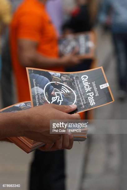 Fulham staff hand out 'Cashless Payment' leaflets outside Craven Cottage