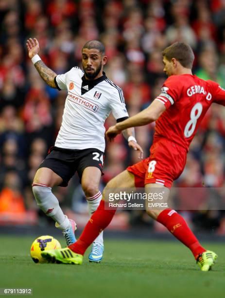 Fulham's Ashkan Dejagah and Liverpool's Steven Gerrard battle for the ball