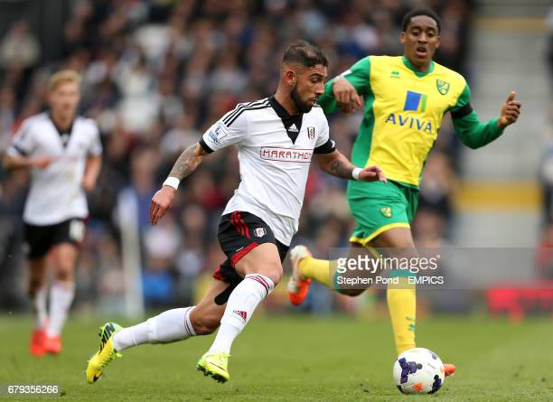 Fulham's Ashkan Dejagah and Norwich City's Leroy Fer compete for the ball
