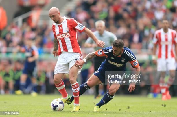 Fulham's Ashkan Dejagah and Stoke City's Stephen Ireland battle for the ball