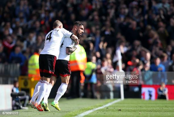 Fulham's Ashkan Dejagah celebrates scoring his side's first goal of the game with teammate Johnny Heitinga