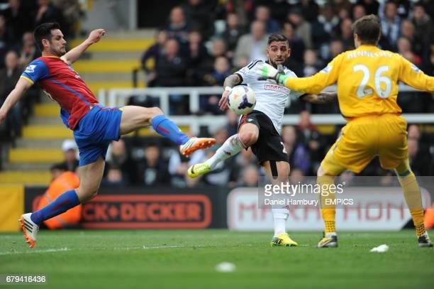 Fulham's Ashkan Dejagah gets a shot on goal