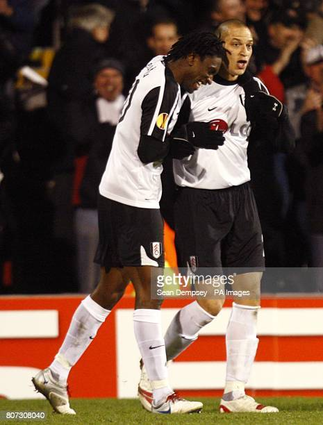 Fulham's Bobby Zamora celebrates scoring the opening goal with team mate Dickson Etuhu