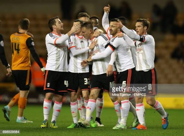 Fulham's Cauley Woodrow celebrates scoring his sides first goal of the match