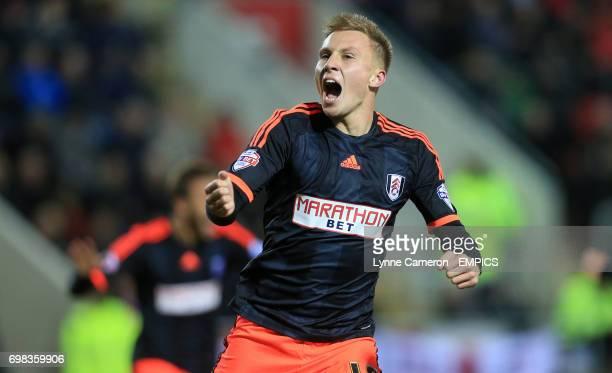 Fulham's Cauley Woodrow celebrates scoring