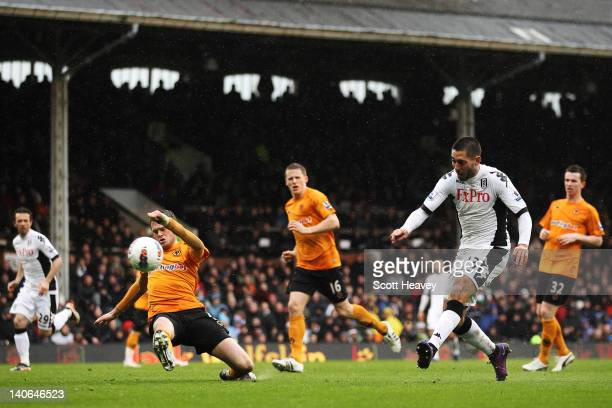 Fulham's Clint Dempsey scores his second goal and Fulham's fifth goal of the match during the Barclays Premier League match between Fulham and...