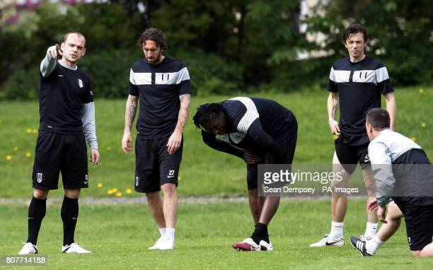Fulham's Danny Murphy Jonathan Greening Dickson Etuhu and Simon Davies during the training session at Motspur Park London