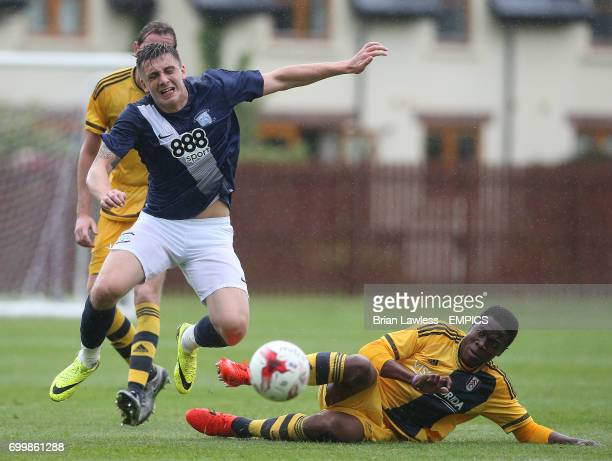 Fulham's Dennis Adeniran and Preston North End's Daniel Johnson battle for the ball during their PreSeason Friendly at Fota Island Cork Ireland