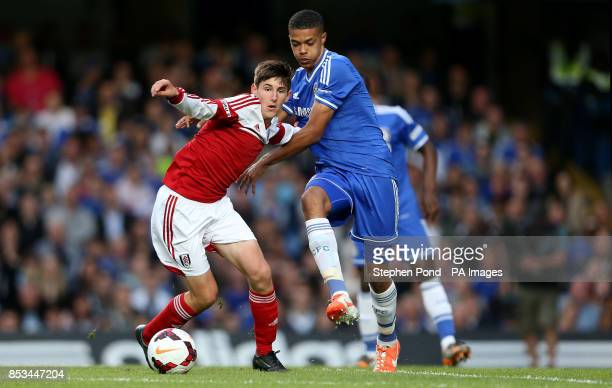 Fulham's Emerson Hyndman and Chelsea's Jake ClarkeSalter compete for the ball during the FA Youth Cup Final Second Leg match at Stamford Bridge London
