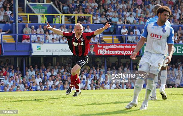 Fulham's English Midfielder Danny Murphy celebrates scoring a goal during their Premier League match against Portsmouth at Fratton Park in Portsmouth...