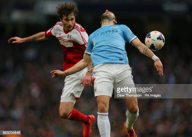 Fulham's Fernando Amorebieta fouls Manchester City's ccedillvaro Negredo to give away a penalty during the Barclays Premier League match at the...