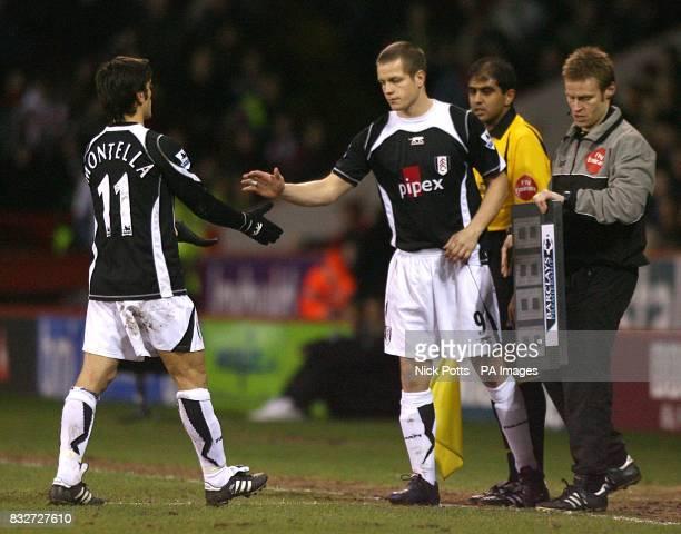 Fulham's Heidar Helguson comes on to replace Vincenzo Montella