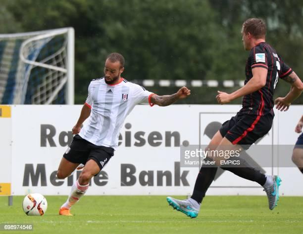 Fulham's Jazz Richards and Eintracht Frankfurt's Bastian Oczipka