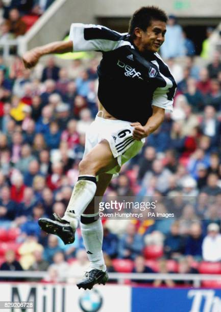 Fulham's Junichi Inamoto celebrates his opening goal against Sunderland during their FA Barclaycard Premiership match at Sunderland's Stadium of...