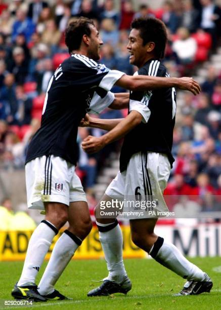 Fulham's Junichi Inamoto celebrates his opening goal against Sunderland with teammate Sylvain Legwinski during the FA Barclaycard Premiership match...