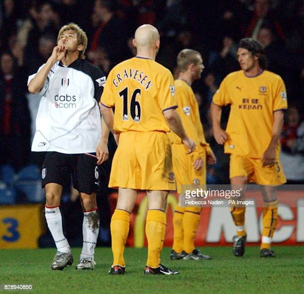 Fulham's Junichi Inamoto celebrates scoring the opening goal against Everton during the FA Cup fourth round replay match at Loftus Road London THIS...