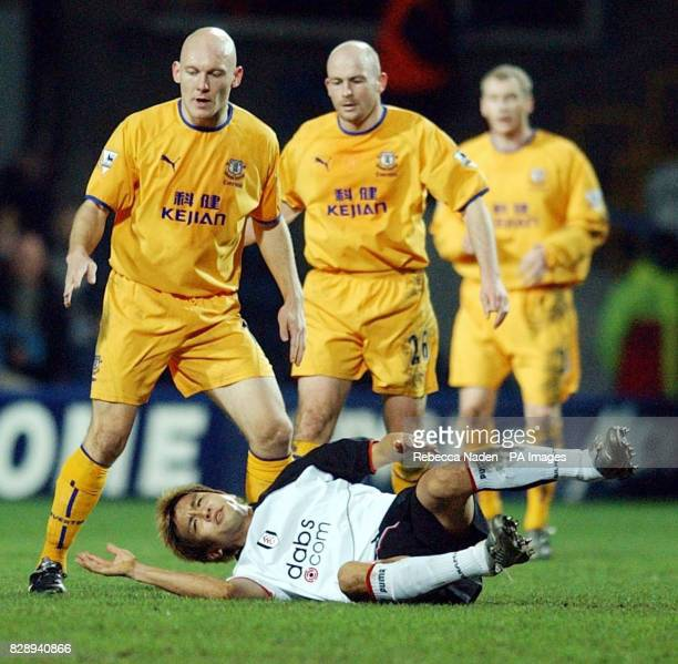 Fulham's Junichi Inamoto is fouled against Everton during the FA Cup fourth round replay match at Loftus Road London THIS PICTURE CAN ONLY BE USED...