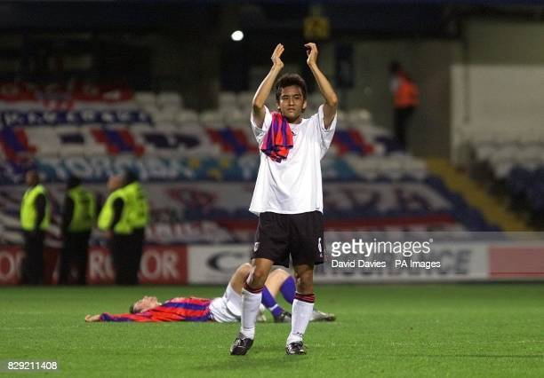 Fulham's Junichi Inamoto salutes the fans after the 22 draw against Hajduk Split in the UEFA Cup First Round second leg match at Loftus Park London...