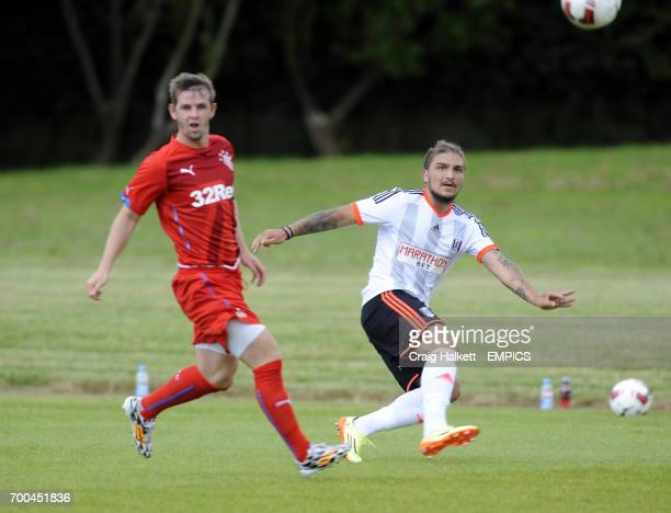 Fulham's Kostas Stafylidis playing in the friendly against Rangers FC