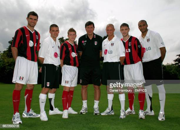 Fulham's manager Lawrie Sanchez with his new signings LR Aaron Hughes David Healy Steven Davis Paul Konchesky Chris Baird and Diomansy Kamara