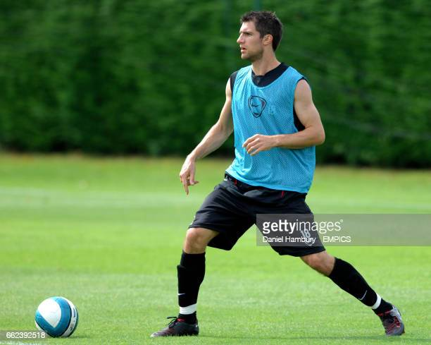 Fulham's new signing Aaron Hughes during training