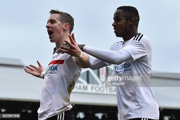 Fulham's Norwegian midfielder Stefan Johansen celebrates scoring their fourth goal during the English FA Cup fourth round football match between...