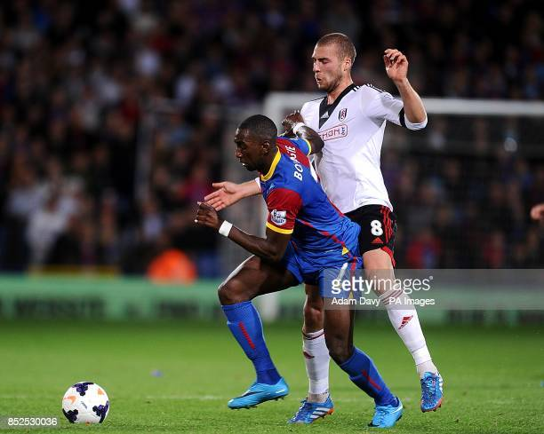 Fulham's Pajtim Kasami and Crystal Palace's Yannick Bolasie battle for the ball