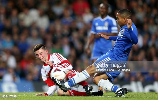 Fulham's Patrick Roberts and Chelsea's Jay Dasilva compete for the ball during the FA Youth Cup Final Second Leg match at Stamford Bridge London