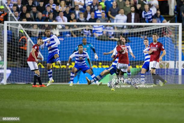 Fulham's Ryan Sessegnon has a shot from long range during the Sky Bet Championship PlayOff Semi Final Second Leg match between Reading and Fulham at...
