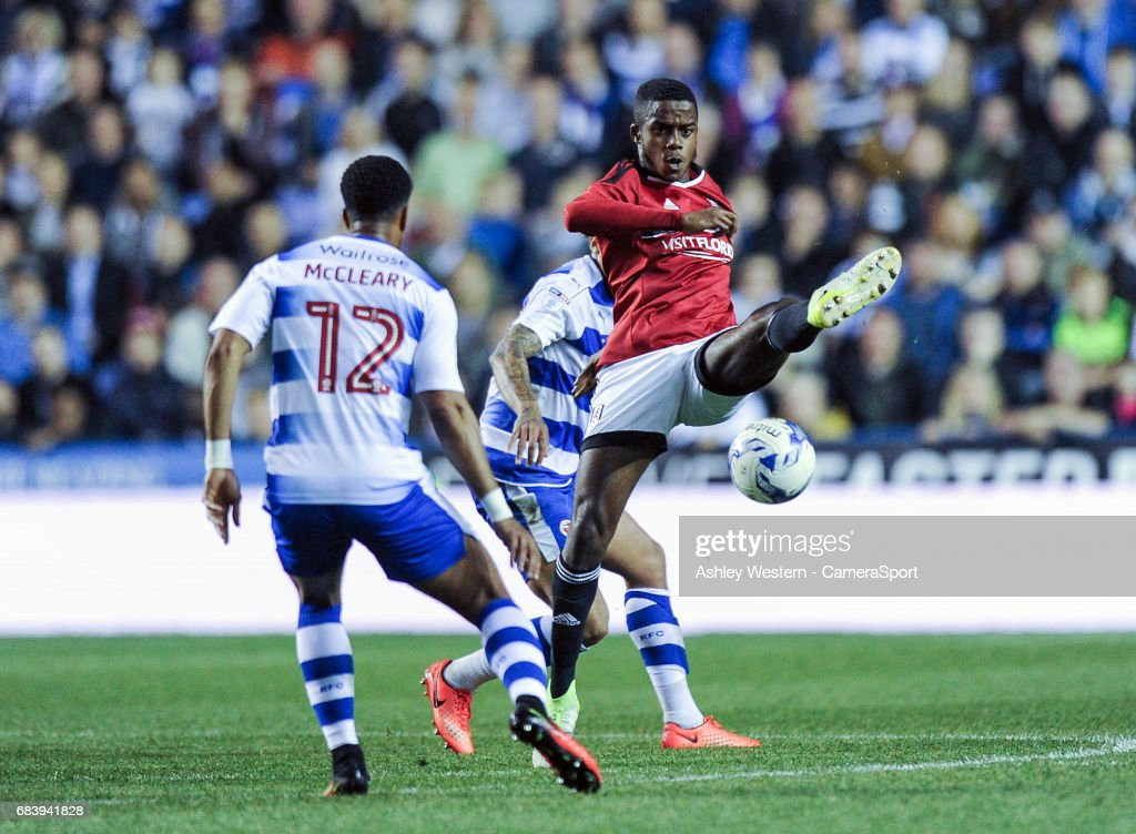 Fulham's Ryan Sessegnon in action during the Sky Bet Championship Play-Off Semi Final Second Leg match between Reading and Fulham at Madejski Stadium on May 16, 2017 in Reading, England.
