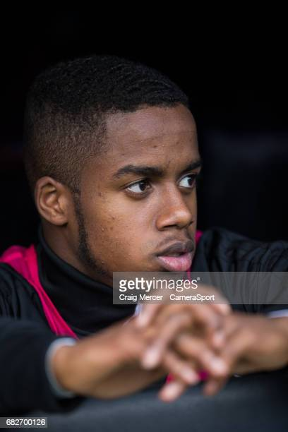 Fulham's Ryan Sessegnon sits on the bench during the Sky Bet Championship match between Fulham and Reading at Craven Cottage on May 13 2017 in London...