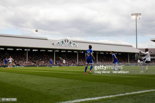 Fulham's Ryan Sessegnon tries a lob shot from long range during the Sky Bet Championship match between Fulham and Brentford at Craven Cottage on...