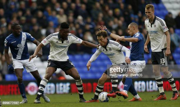 Fulham's Scott Parker and Birmingham City's James Vaughan battle for the ball
