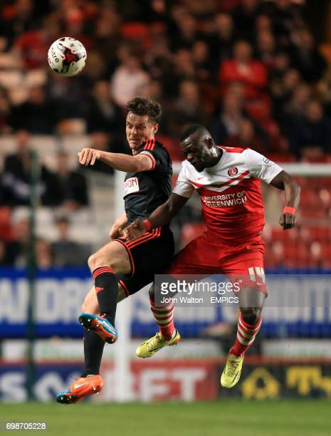 Fulham's Scott Parker and Charlton Athletic's Igor Vetokele battles for the ball in the air