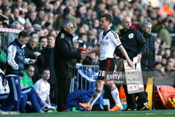 Fulham's Scott Parker shakes hands with manager Felix Magath