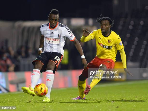 Fulham's Seko Fofana is challenged by Watford's Juan Carlos Paredes during the Sky Bet Championship match at Craven Cottage London