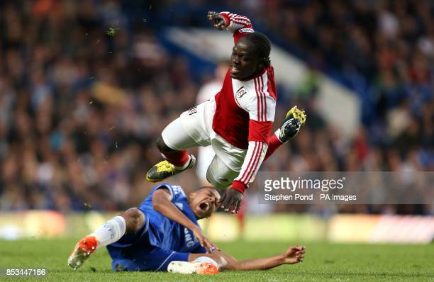 Fulham's Soloman Sambou and Chelsea's Jake ClarkeSalter compete for the ball during the FA Youth Cup Final Second Leg match at Stamford Bridge London