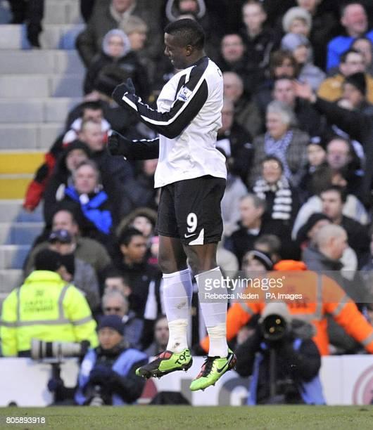 Fulham's Stefano Okaka celebrates scoring their fourth goal