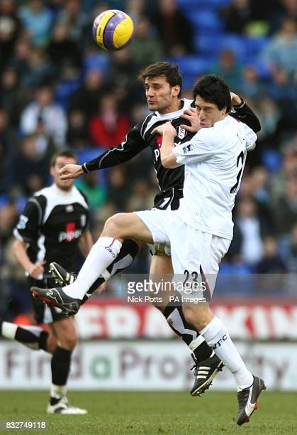 Fulham's Vincenzo Montella and Bolton Wanderers' Idan Tal battle for the ball