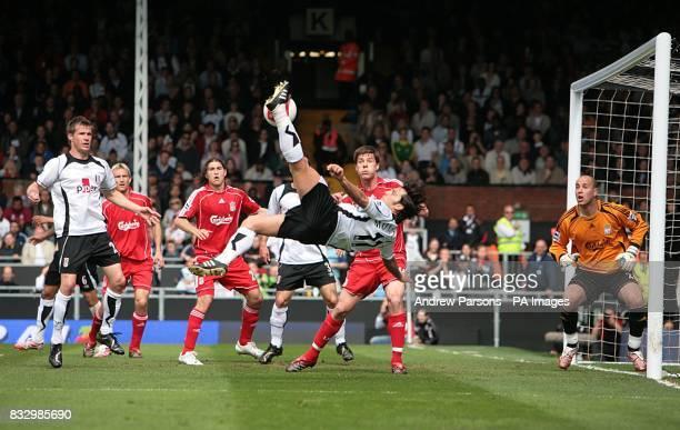 Fulham's Vincenzo Montella attempts a overhead kick