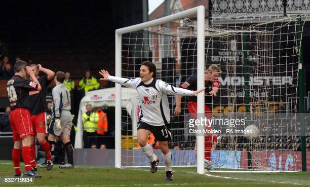 Fulham's Vincenzo Montella celebrates after scoring against Stoke City during the FA Cup fourth round at Craven Cottage London